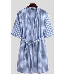 incerun hombres estilo kimono estampado a cuadros algodón anudado ropa de dormir bata de noche bata