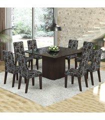 mesa de jantar 8 lugares dara venus ameixa/cobre/preto - viero móveis