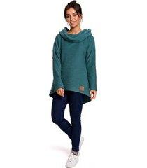 sweater be b131 pullover top met hoge kraag - turkoois