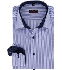 overhemd eterna blauw wit gestreept strijkvrij