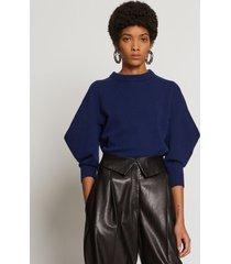proenza schouler cashmere draped puff sleeve sweater indigo/blue l