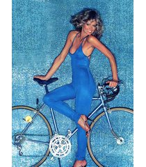 farah fawcett  vintage pin-up poster  blue jumpsuit bike 2.5 x 3.5 fridge magnet