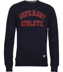 academy ribbed crew sweat-shirt trui blauw superdry