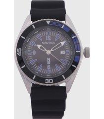 reloj plateado-negro-azul nautica