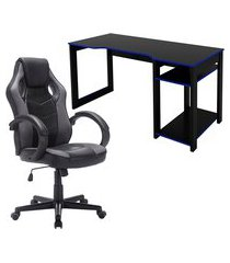 mesa computador tecno mobili me4152 preta/azul + cadeira gamer trevalla tl-cdg-07-1pr
