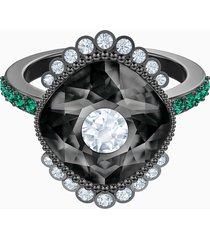 anello con motivo black baroque, multicolore, placcatura rutenio
