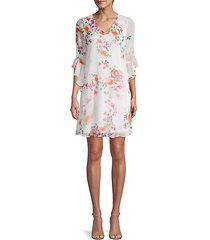 floral bell-sleeve shift dress
