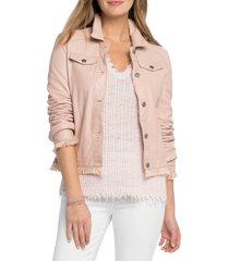 women's nic+zoe alexa washable leather jacket, size x-small - pink