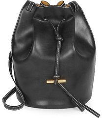 vegan leather medium belted bucket bag