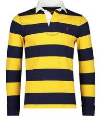ralph lauren rugby trui donkerblauw geel