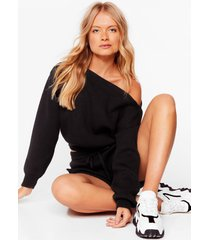 womens hey shorty sweater and biker shorts lounge set - black