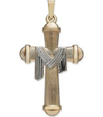 textured cross with robe pendant in 14k gold & white gold