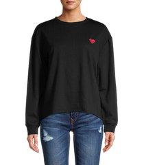 c & c california women's heart-embroidered sweatshirt - sepia rose - size l