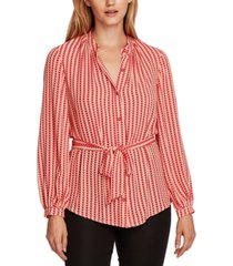 vince camuto geo-print button-down belted tunic top