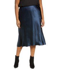 plus size women's vince satin slip skirt, size 3x-large - blue