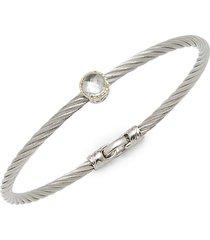 alor women's stainless steel single white topaz bracelet - grey