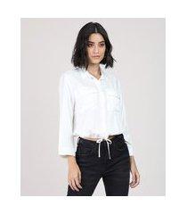camisa feminina blusê com bolsos manga 7/8 branca