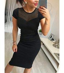 negro cierre trasero con cremallera redondo cuello mangas cortas vestido