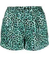laneus leopard print shorts - green