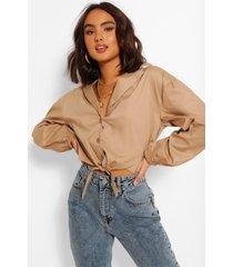 katoenen blouse met strik, zand