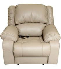 poltrona do papai reclinável elétrica com massagem e usb magnum couro bege - gran belo