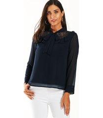 yoins blusa de gasa con diseño anudado de encaje azul marino