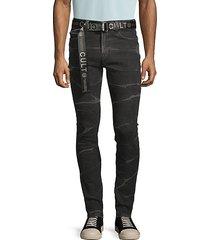 belted super skinny jeans