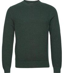 andy structure c-neck sweater stickad tröja m. rund krage grön j. lindeberg