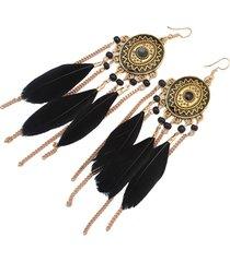 aretes negros plumas sasmon ar-11554