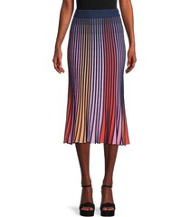 525 america women's striped pleated skirt - midnight multi - size s