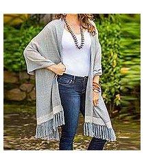 cotton shawl, 'natural combination in blue' (guatemala)