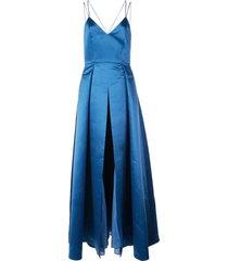 alice+olivia marilla strappy gown - blue