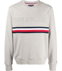 tommy hilfiger textured logo sweatshirt - grey