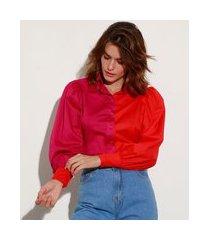 camisa color block listrado manga bufante mindset pink