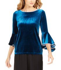 msk embellished-trim velvet bell-sleeve top
