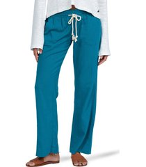 women's roxy oceanside linen blend beach pants, size medium - blue/green