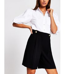 river island womens black tailored bermuda short