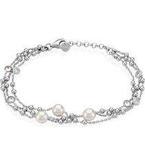 bracciale in argento 925 perle e zirconi per donna