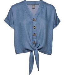 blouse julia denim blouses short-sleeved blå lindex