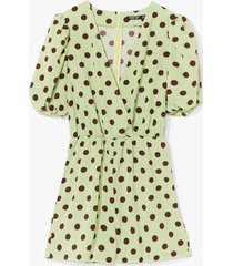 womens polka dot to worry satin romper - sage
