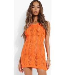 gebreide gehaakte mini jurk met halter neck, orange