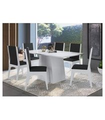 conjunto mesa com base móveis canção e 6 cadeiras