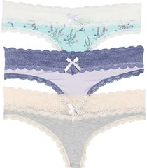 women's honeydew intimates ahna 3-pack lace thong, size x-large - pink