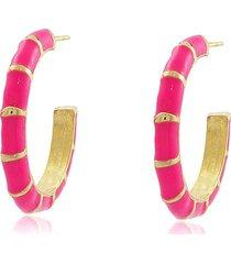 brinco viva jolie argola colors  mã©dia rosa pink banho em ouro - dourado - feminino - dafiti