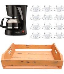 kit 1 cafeteira mondial 110v, 12 xícaras 90 ml com pires e 1 bandeja mdf laranja - tricae