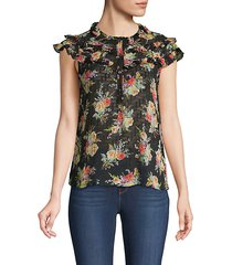 floral ruffle silk & cotton-blend top