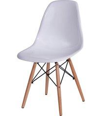 cadeira dkr policarbonato e base de madeira malawi – branca