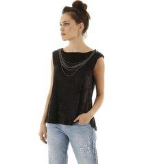 blusa sem manga de veludo com aplicaã§ã£o de correntes preta - azul marinho - preto - feminino - dafiti