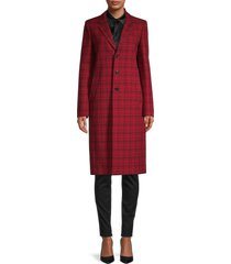 balenciaga women's plaid coat - red navy - size 34 (2)