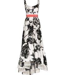silvia tcherassi elvira floral print prom dress - black